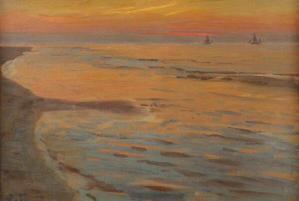 Lauritz_Tuxen_Segler_im_Abendlicht_Öl_auf_Leinwand_um_1920_Galerie_RIECK-1030x727