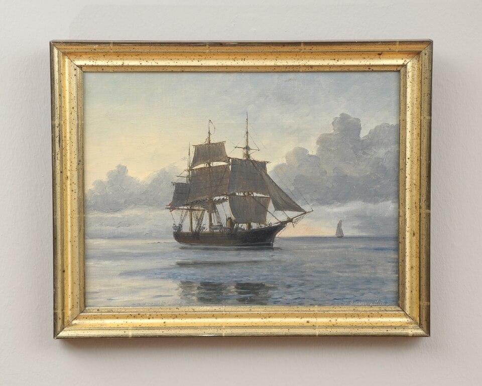 Galerie RIECK - Christian B. Olsen_Großsegler im Morgenlicht_mit Rahmen
