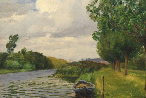 Galerie RIECK - H. A. Brendekilde_Kahn am Flussufer