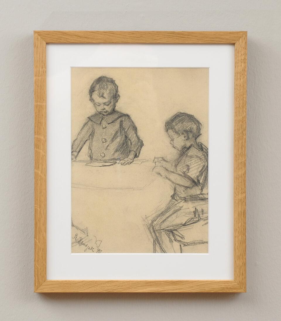Galerie RIECK - Viggo Johansen_Bleistiftstudie Kinder_mit Rahmen