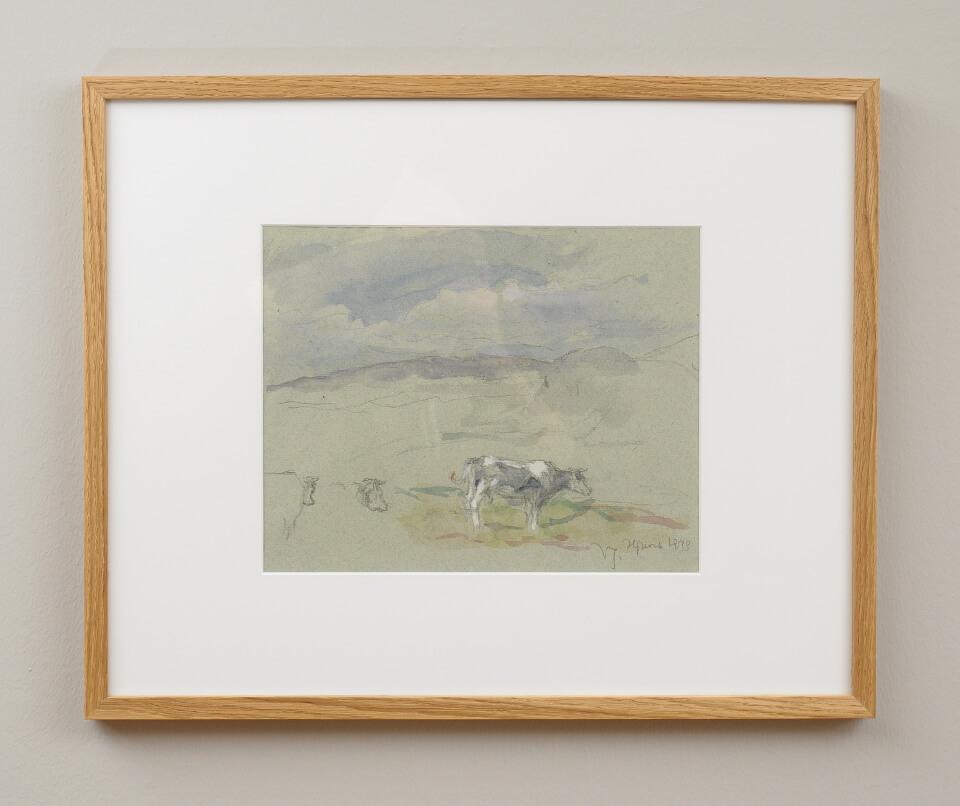 Galerie RIECK - Viggo Johansen_Studie Landschaft Bleistift-Aquarell_mit Rahmen