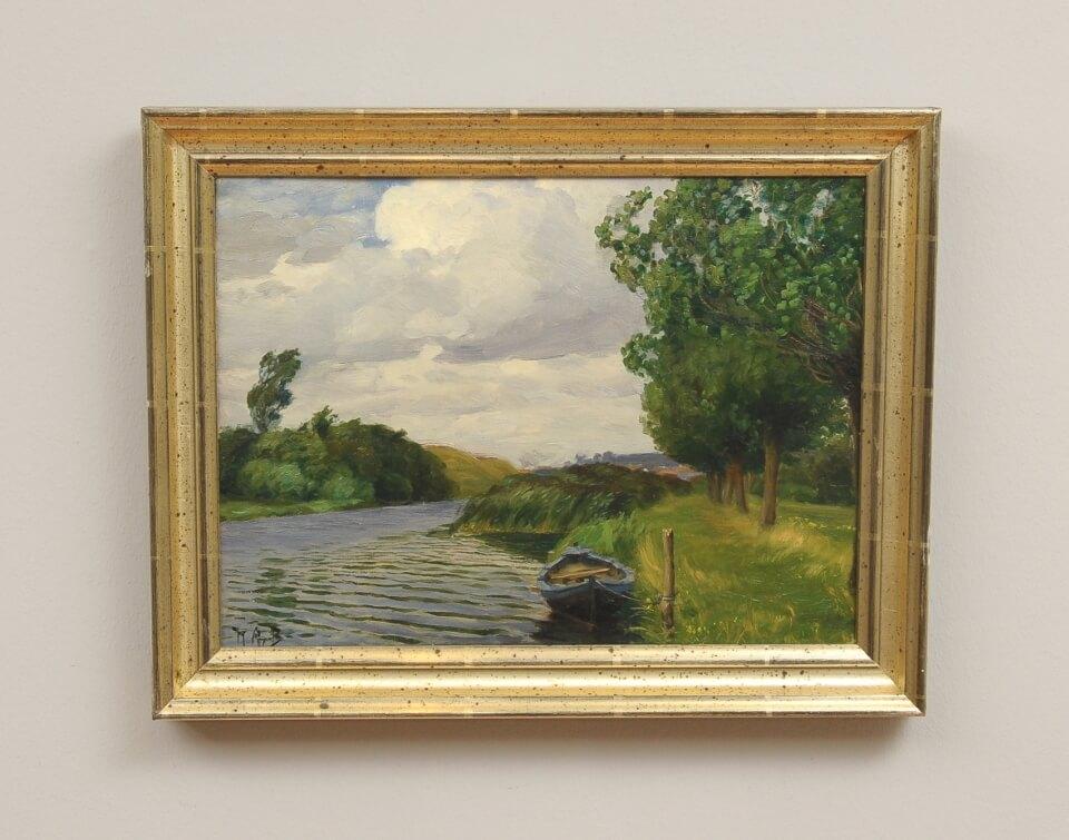 Galerie RIECK - H. A. Brendekilde_Kahn am Flussufer_mit Rahmen