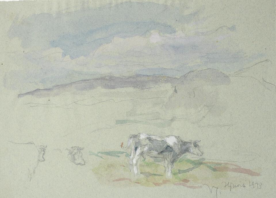 Galerie RIECK - Viggo Johansen_Studie Landschaft Bleistift-Aquarell